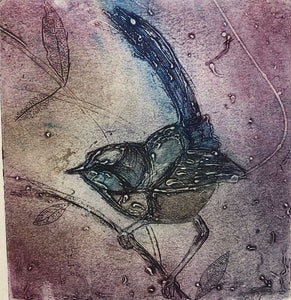 "Original Collagraph: ""Windy Wagtail"""