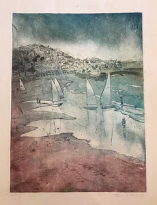 """Regatta"" Original Collagraph"