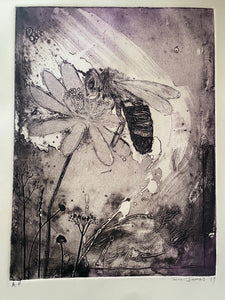 Native Australian Bee Original Collagraph artwork