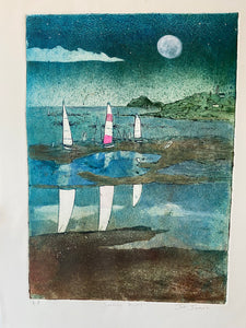 """Sailing Away"" Original Collagraph"