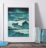 Full Moon Waves Art Print