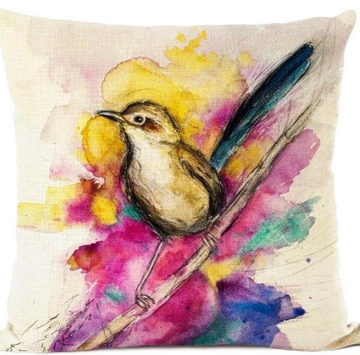 Rainbow Wren Cushion Cover