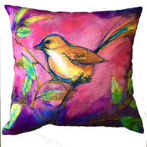Pink Wren Cushion Cover