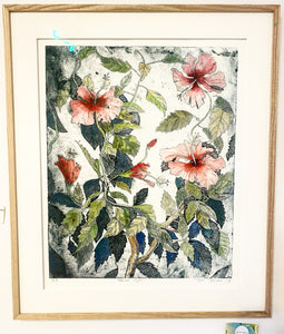 Hibiscus Cycle - Framed Original Etching