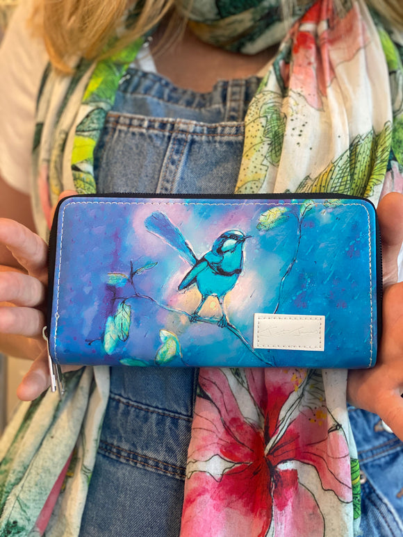 Blue Bird Double Zipper Wallet
