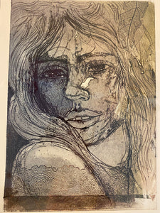 "'Shy"" Original 2020 Collagraph"