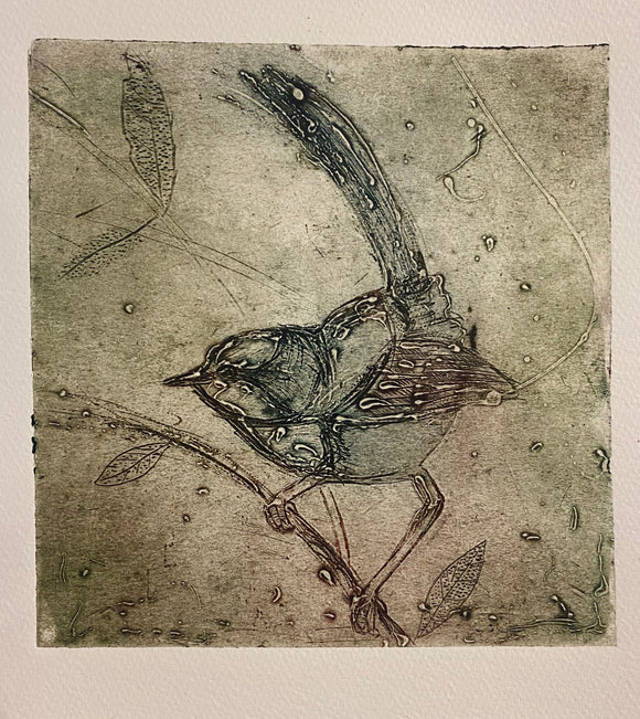 'Windy Wagtail' original Collagraph