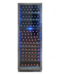 168-Bottle Smoked Black Stainless Steel Dual-Zone Wine Cooler by Vinotemp, Wine Cooler, Vinotemp - The Luxury Man Cave