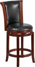 26'' Dark Chestnut Wood Counter Height Stool w/ Black Leather Swivel Seat, bar Stools, Flash - The Luxury Man Cave