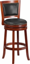 30'' Dark Cherry Wood Barstool w/ Walnut Leather Swivel Seat, bar Stools, Flash - The Luxury Man Cave