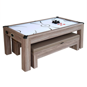 Driftwood 7-ft Air Hockey Table Combo Set w/Benches by Carmelli, Air Hockey, Carmelli - The Luxury Man Cave