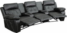 Reel Comfort Series 3-Seat Reclining Black Leather Theater Seat Curved w/Cup Holders, Theater Seats, Flash - The Luxury Man Cave