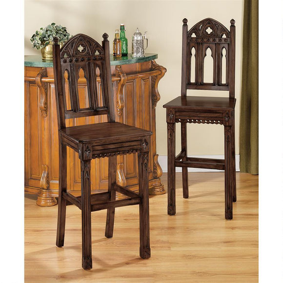 Sudbury Gothic Hardwood Bar Stool by Design Toscano, bar Stools, Design Toscano - The Luxury Man Cave
