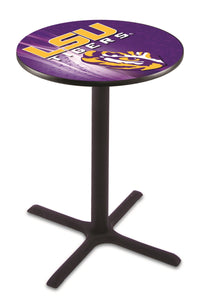 Louisiana State L211 - Black Wrinkle Pub Table by Holland Bar Stool Co.