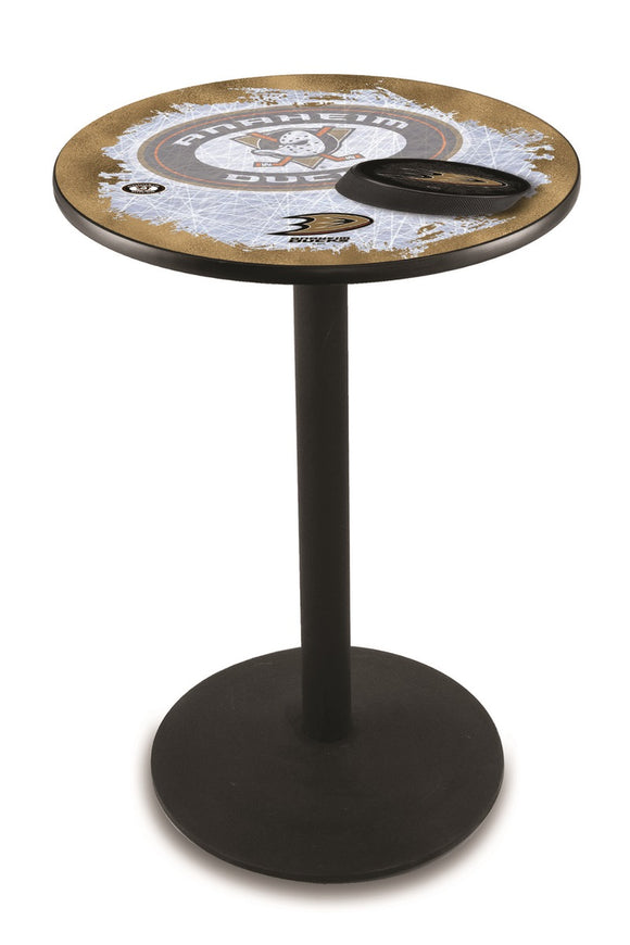 Anaheim Ducks L214 - Black Wrinkle Pub Table with by Holland Bar Stool Co.