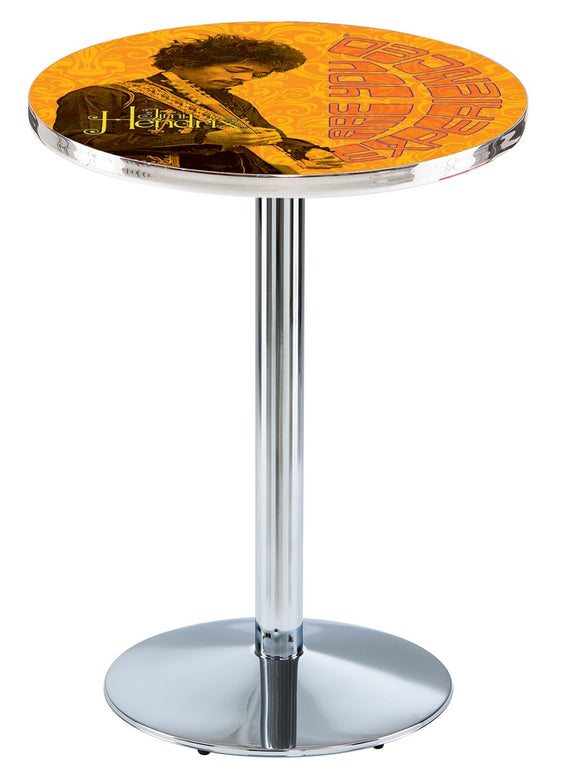Jimi Hendrix - AYE (Orange) L214 - Chrome Pub Table by Holland Bar Stool Co.