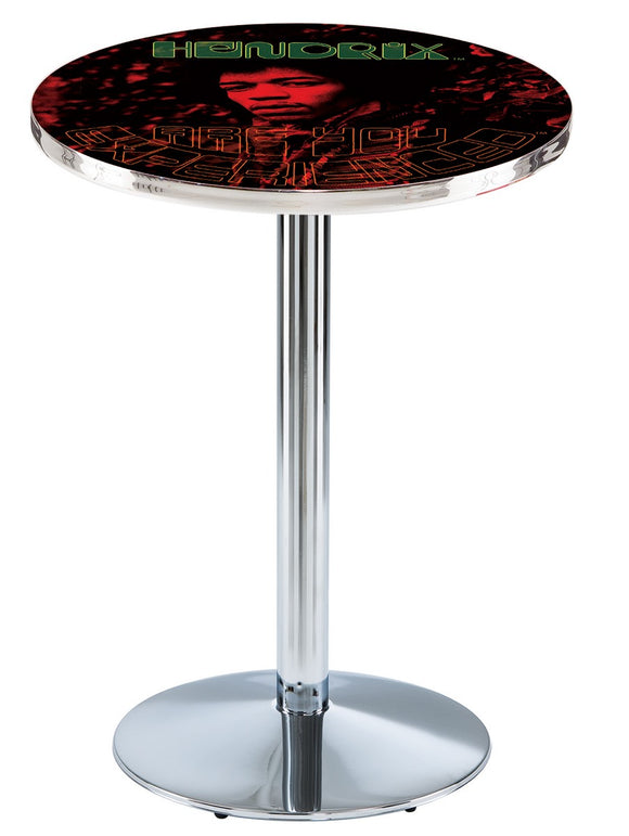 Jimi Hendrix - AYE (Red) L214 - Chrome Pub Table by Holland Bar Stool Co.
