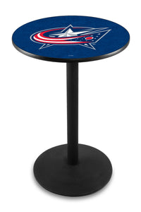 Columbus Blue Jackets L214 - Black Wrinkle Pub Table by Holland Bar Stool Co.