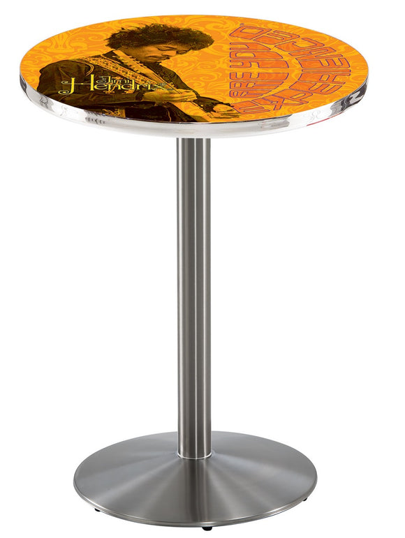 Jimi Hendrix - AYE (Orange) L214 - Stainless Steel Pub Table by Holland Bar Stool Co.