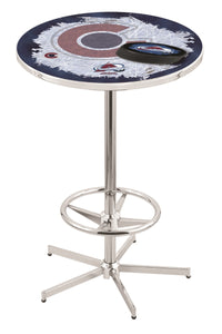 "Colorado Avalanche L216 - 42"" Chrome Pub Table by Holland Bar Stool Co."