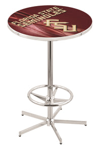 "Florida State (Script) L216 - 42"" Chrome Pub Table by Holland Bar Stool Co."