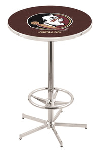 "Florida State (Head) L216 - 42"" Chrome Pub Table by Holland Bar Stool Co."