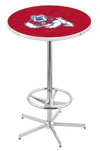 "Fresno State L216 - 42"" Chrome Pub Table by Holland Bar Stool Co."