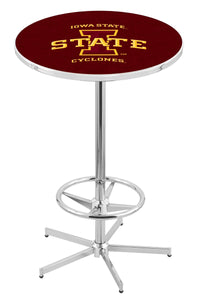 "Iowa State L216 - 42"" Chrome Pub Table by Holland Bar Stool Co."