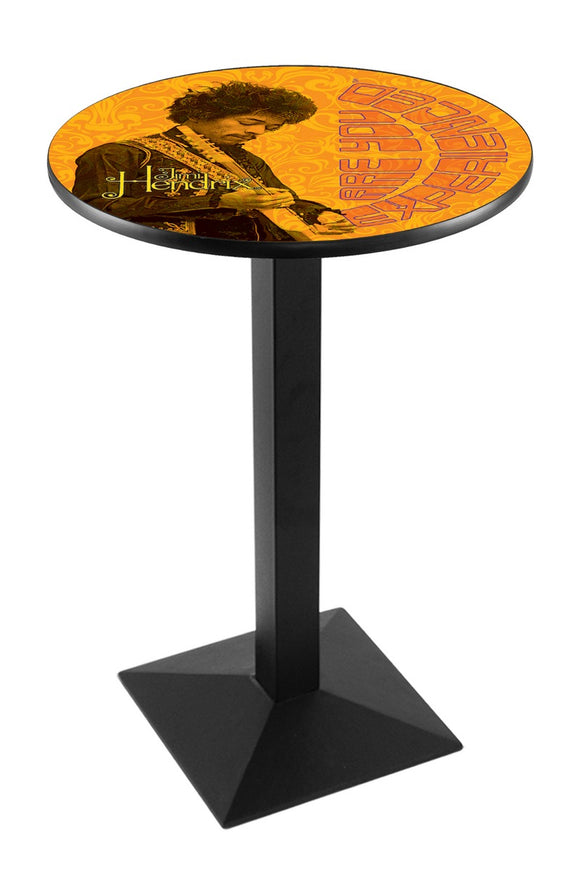Jimi Hendrix - AYE (Orange) L217 - Black Wrinkle Pub Table by Holland Bar Stool Co.