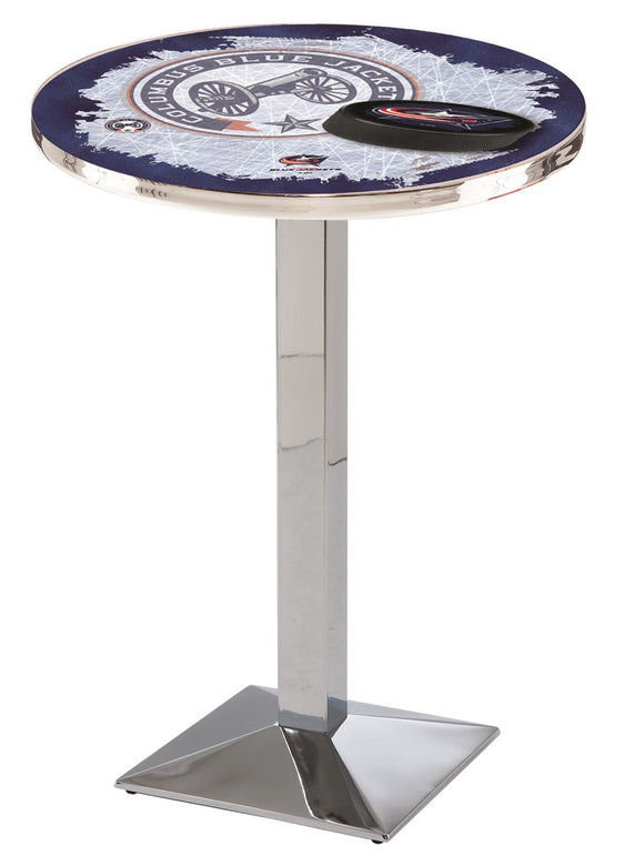 Columbus Blue Jackets L217 - Chrome Pub Table by Holland Bar Stool Co.
