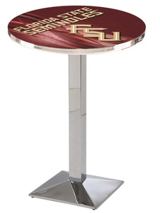 Florida State (Script) L217 - Chrome Pub Table by Holland Bar Stool Co.