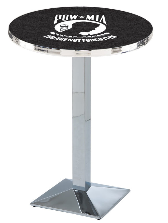 POW/MIA L217 - Chrome Pub Table by Holland Bar Stool Co.
