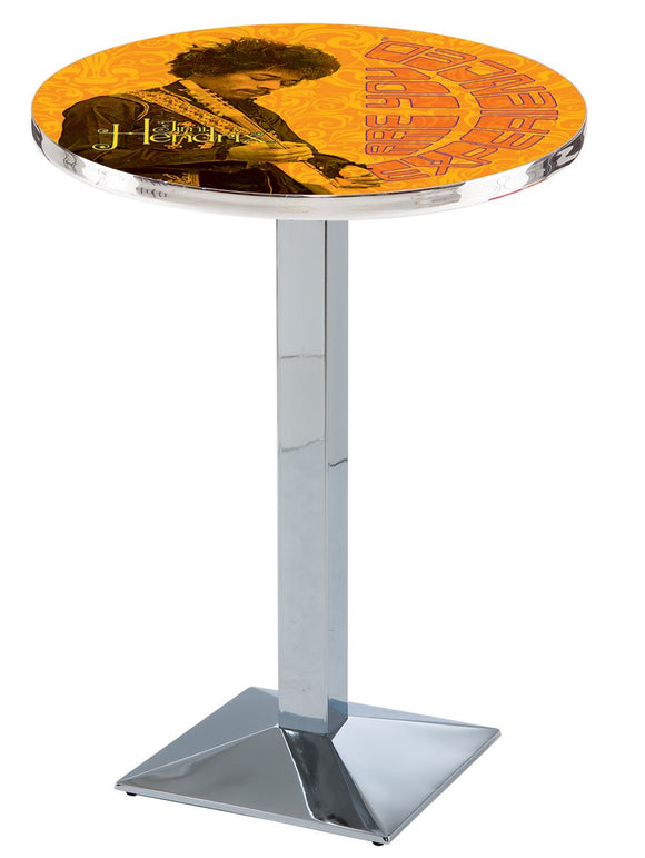 Jimi Hendrix - AYE (Orange) L217 - Chrome Pub Table by Holland Bar Stool Co.