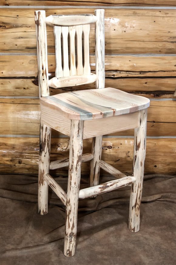 Montana Collection Barstool w/ Back, Ready to Finish, Ergonomic Wooden Seat by Montana Woodworks, bar Stools, Montana Woodworks - The Luxury Man Cave
