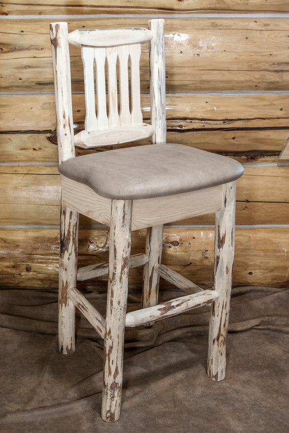 Montana Collection Barstool w/ Back, Ready to Finish w/ Upholstered Seat, Buckskin Pattern, bar Stools, Montana Woodworks - The Luxury Man Cave