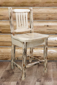 Montana Collection Barstool w/ Back, Clear Lacquer Finish, Ergonomic Wooden Seat, bar Stools, Montana Woodworks - The Luxury Man Cave