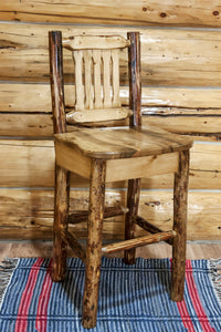 Glacier Country Collection Barstool w/ Back, Ergonomic Wooden Seat by Montana Woodworks, bar Stools, Montana Woodworks - The Luxury Man Cave
