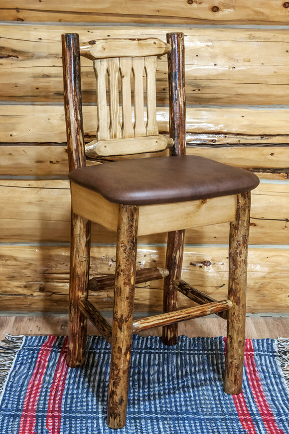 Glacier Country Collection Barstool w/ Back, Upholstered Seat, Saddle Pattern by Montana Woodworks, bar Stools, Montana Woodworks - The Luxury Man Cave