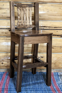 Homestead Collection Barstool w/ Back, Stain & Clear Lacquer Finish, Ergonomic Wooden Seat, bar Stools, Montana Woodworks - The Luxury Man Cave