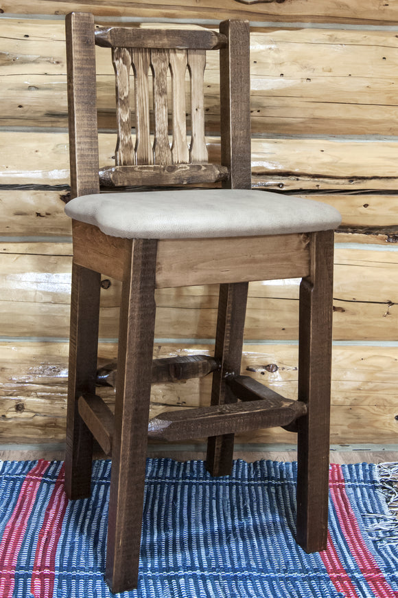 Homestead Collection Barstool w/ Back, Clear Lacquer Finish w/ Upholstered Seat, Buckskin Pattern, bar Stools, Montana Woodworks - The Luxury Man Cave