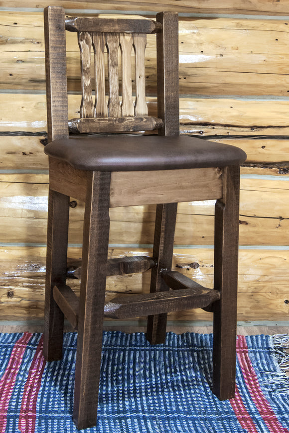 Homestead Collection Barstool w/ Back,Clear Lacquer Finish Upholstered Seat, Saddle Pattern, bar Stools, Montana Woodworks - The Luxury Man Cave