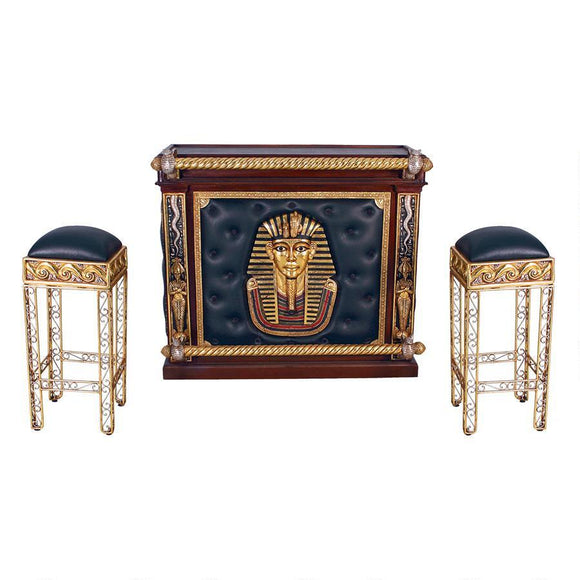 The Altar of Tenenit: Egyptian Bar with Two Barstools by Design Toscano, Home Bar, Design Toscano - The Luxury Man Cave