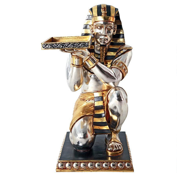 Egyptian Pharaoh's Kneeling Servant: Egyptian Side Table Statue by Design Toscano, End Tables, Design Toscano - The Luxury Man Cave