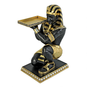 Egyptian Pharaoh's Kneeling Nubian Servant: Egyptian Side Table Statue by Design Toscano, End Tables, Design Toscano - The Luxury Man Cave