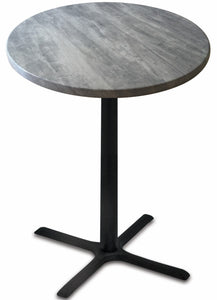 "Black Table w/ 30"" x 30"" Foot and 30"" Diameter Indoor/Outdoor Greystone Top by Holland Bar Stool, Pub Table, Holland Bar Stool Company - The Luxury Man Cave"
