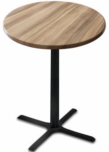 "Black Table w/ 36"" Dia Indoor/Outdoor Natural Top by Holland Bar Stool, Pub Table, Holland Bar Stool Company - The Luxury Man Cave"