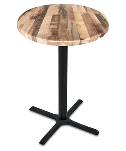 "Black Table w/ 30"" x 30"" Foot and 30"" Dia Indoor/Outdoor Rustic Top by Holland Bar Stool, Pub Table, Holland Bar Stool Company - The Luxury Man Cave"