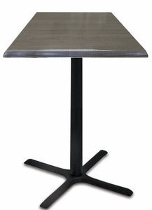 "Black Table w/ 30"" x 30"" Foot and 30"" x 30"" Square Indoor/Outdoor Charcoal Top by Holland Bar Stool, Pub Table, Holland Bar Stool Company - The Luxury Man Cave"