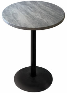"Black Table with 22"" Diameter Foot and 30"" Diameter Indoor/Outdoor Greystone Top by Holland Bar Stool, Pub Table, Holland Bar Stool Company - The Luxury Man Cave"