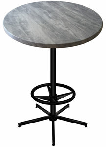 "42"" Black Table with 30"" or 36"" Diameter Indoor/Outdoor Greystone Top by Holland Bar Stool Company"